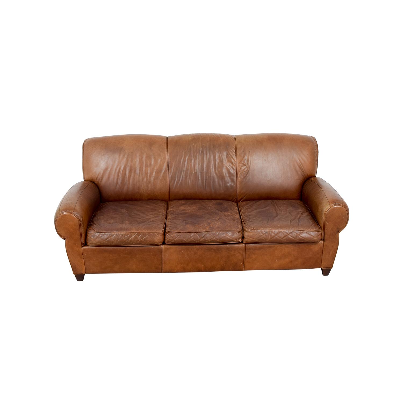 73% OFF - Pottery Barn Pottery Barn Manhattan Leather Sofa / Sofas