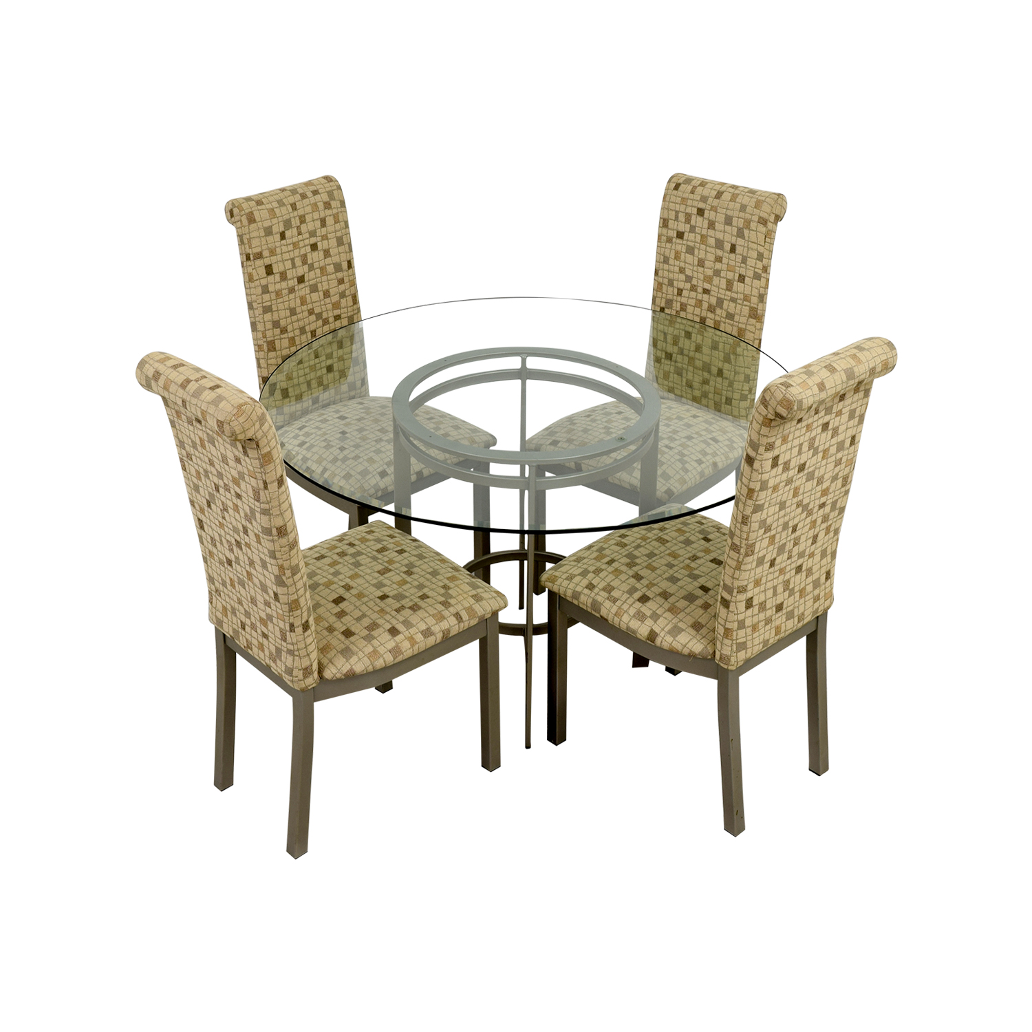shop Glass Dining Set with Tan Chairs online