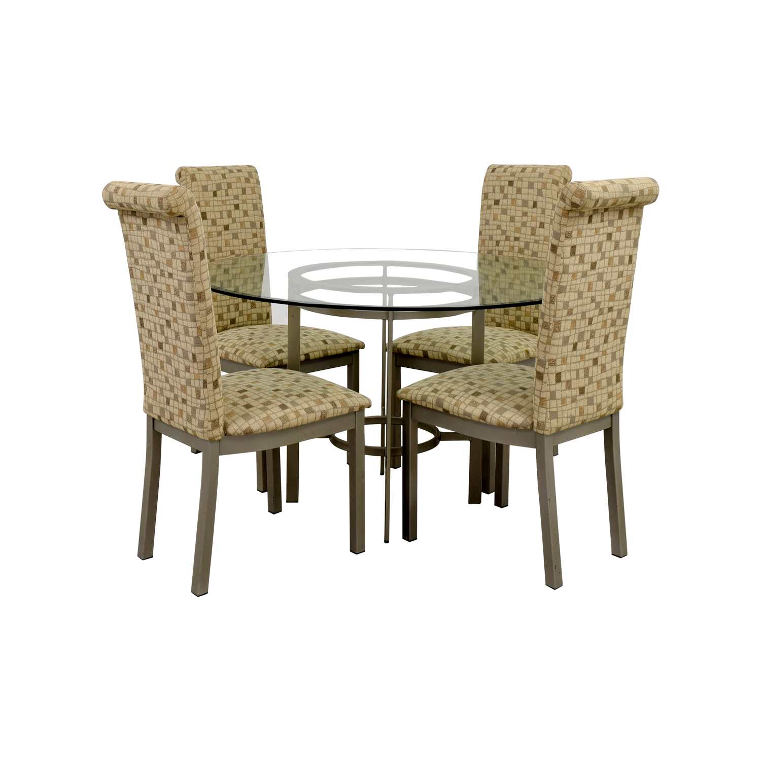 Glass Dining Set with Tan Chairs Tables