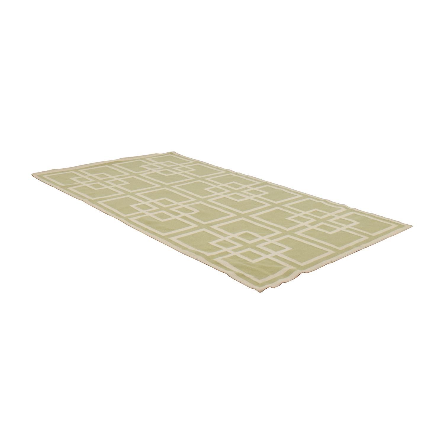 Pottery Barn Green and White Rug / Decor