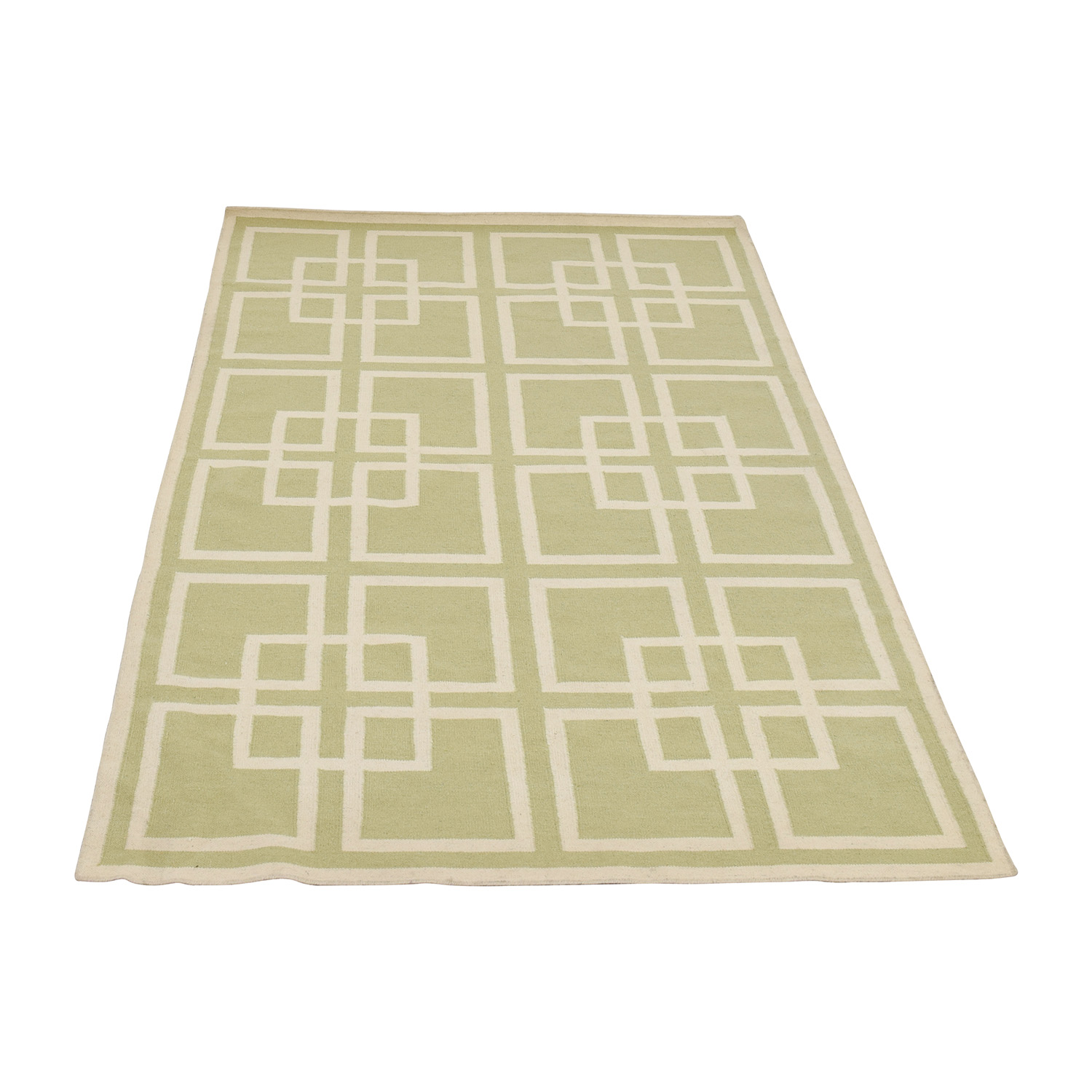 shop Pottery Barn Green and White Rug Pottery Barn Rugs