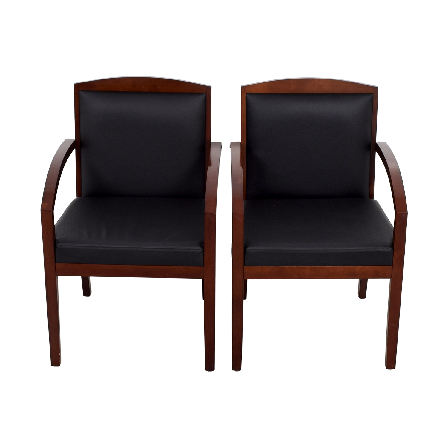 86 Off Black Leather And Wood Chairs Chairs