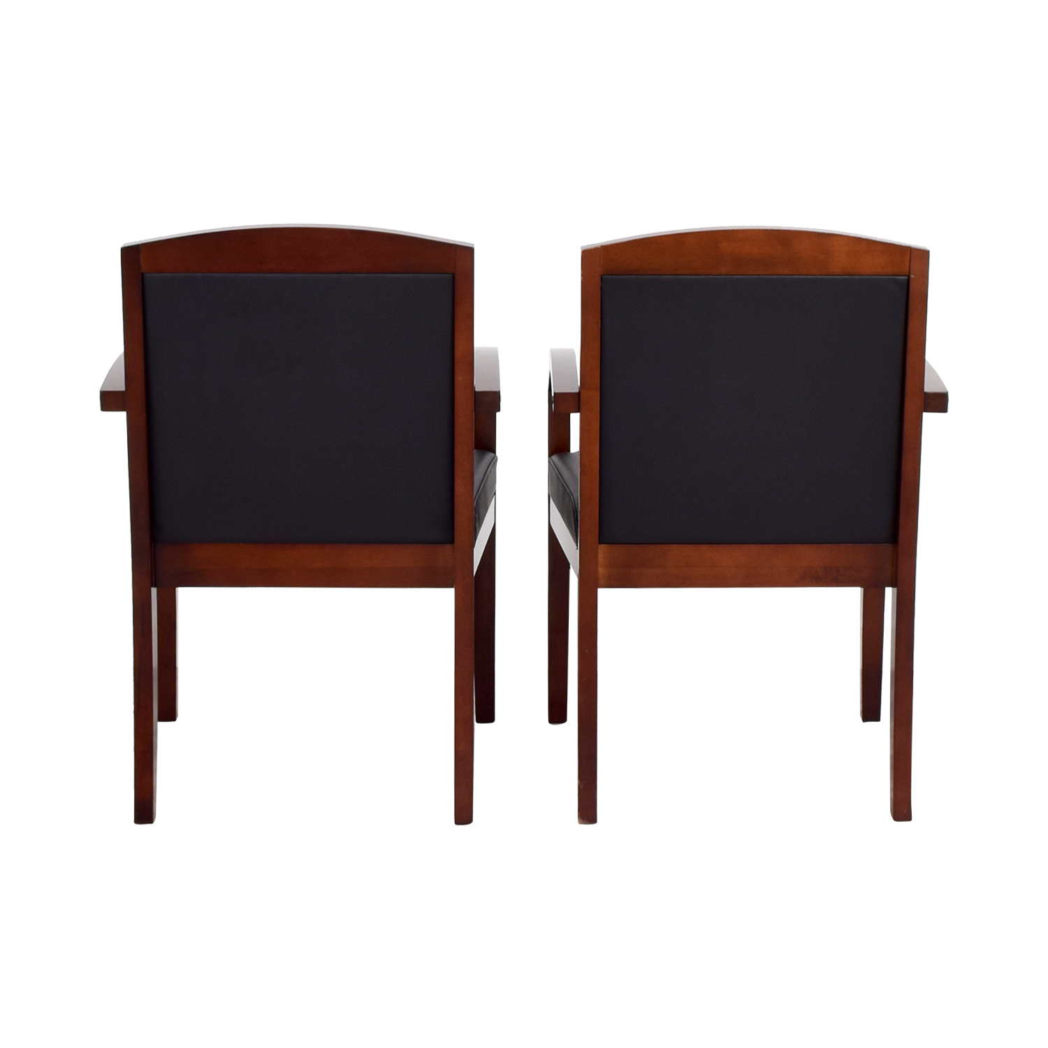 Black Leather And Wood Chairs Used