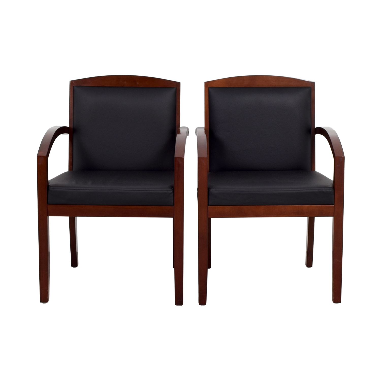 shop Black Leather and Wood Chairs