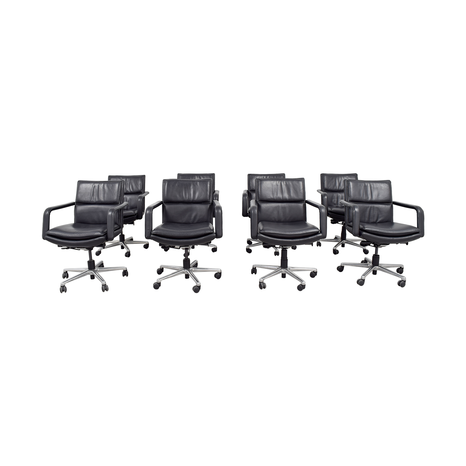 49% OFF - Black Leather Conference Room Chairs / Chairs