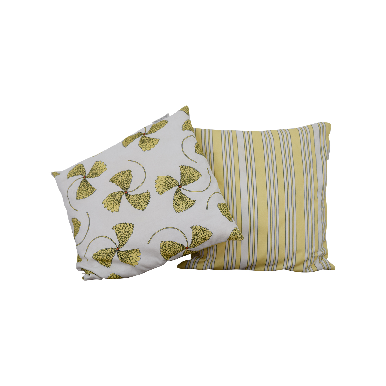 Madura Madura Yellow Floral Reversable Pillow nj