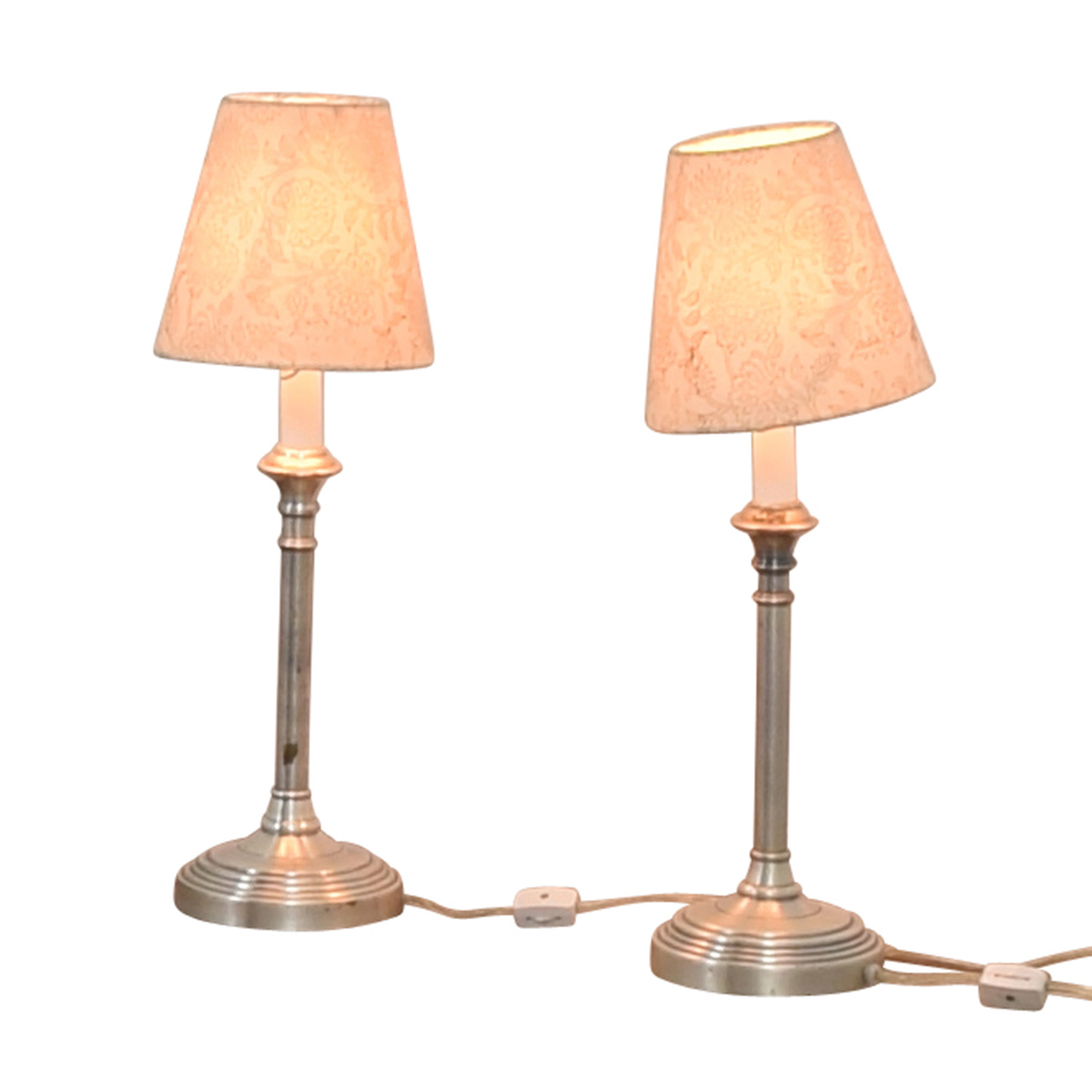 Pottery Barn Pottery Barn Chrome Lamps with Floral Shades