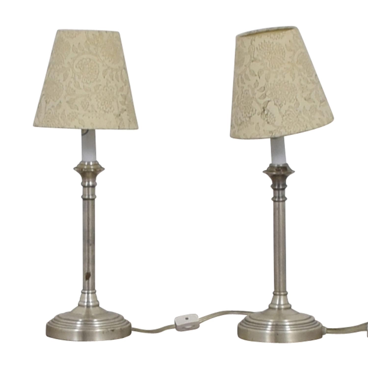 buy Pottery Barn Chrome Lamps with Floral Shades Pottery Barn Decor
