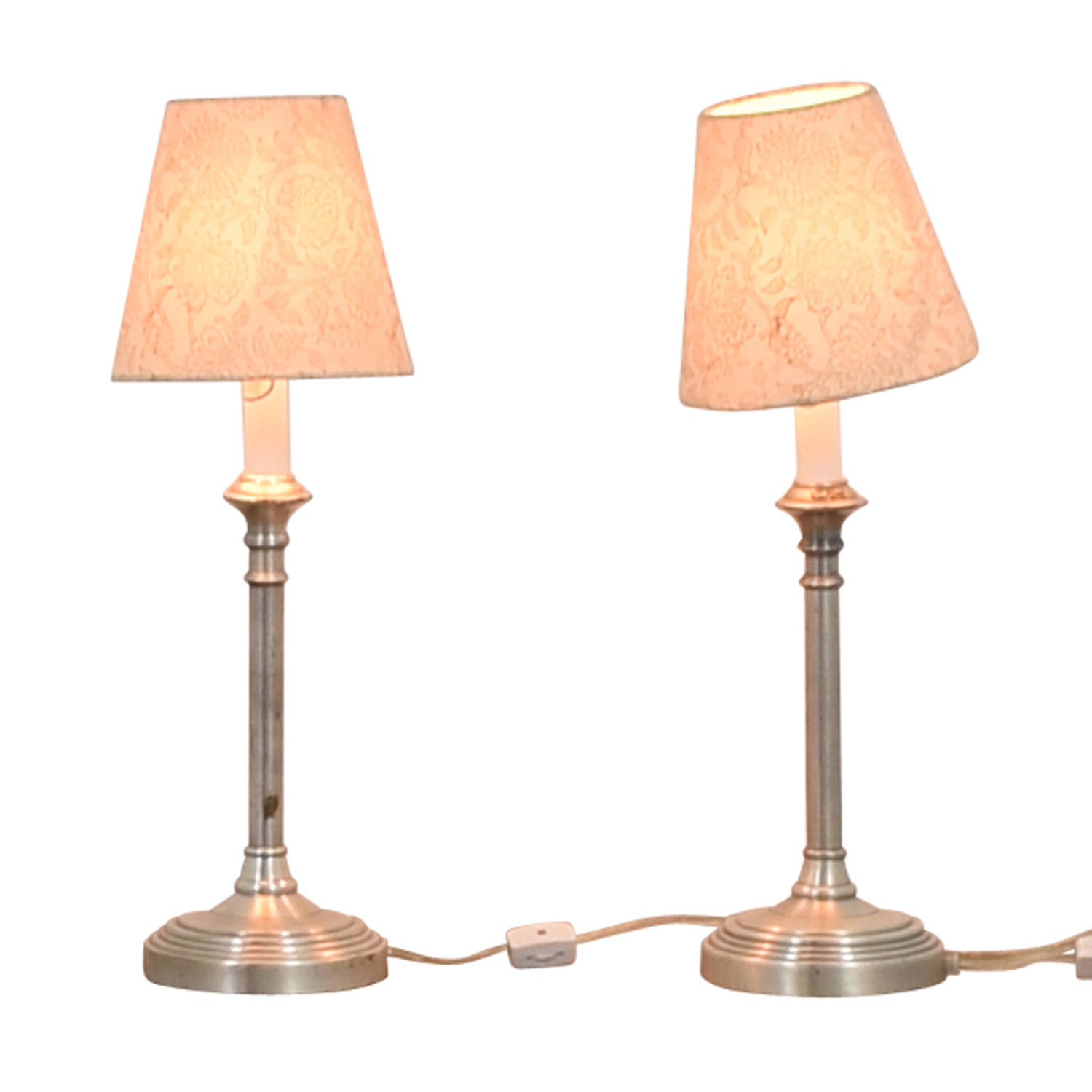 Pottery Barn Pottery Barn Chrome Lamps with Floral Shades White/Metal