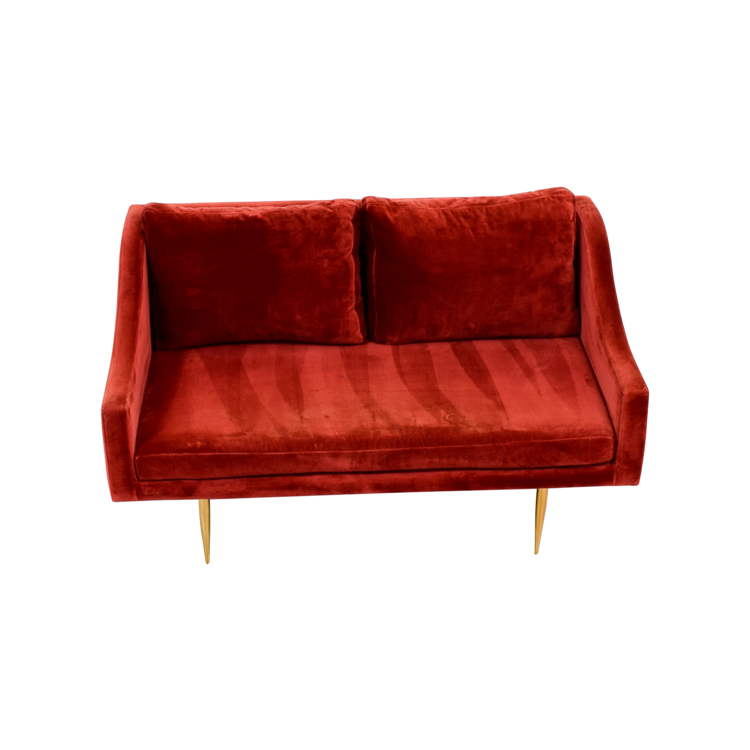 shop Organic Modernism Mid-century Modern Red Loveseat Organic Modernism