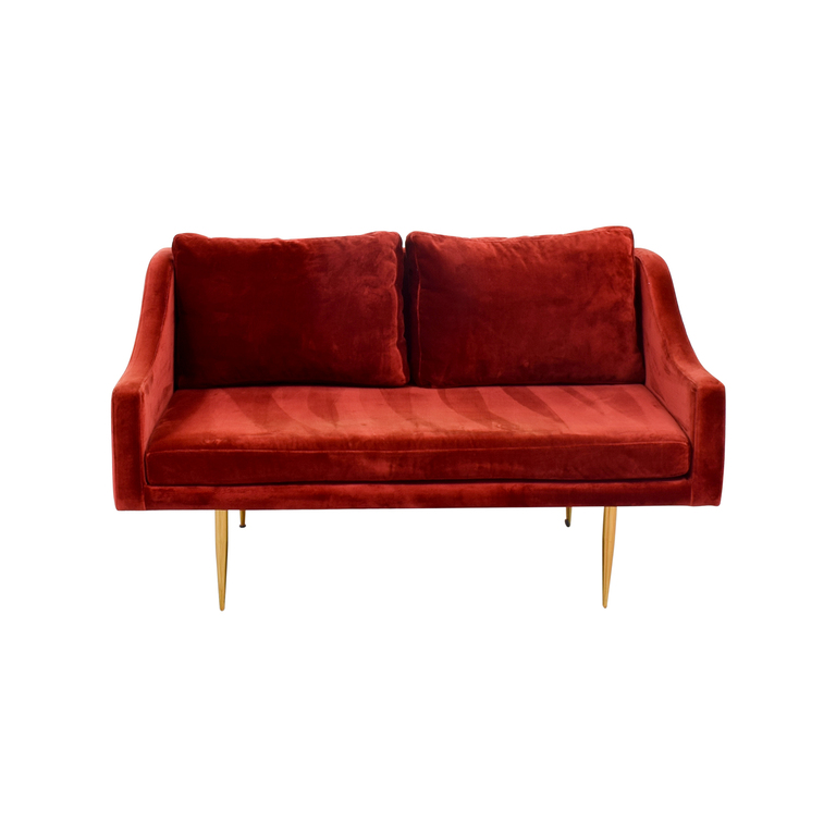 Organic Modernism Organic Modernism Mid-century Modern Red Loveseat on sale
