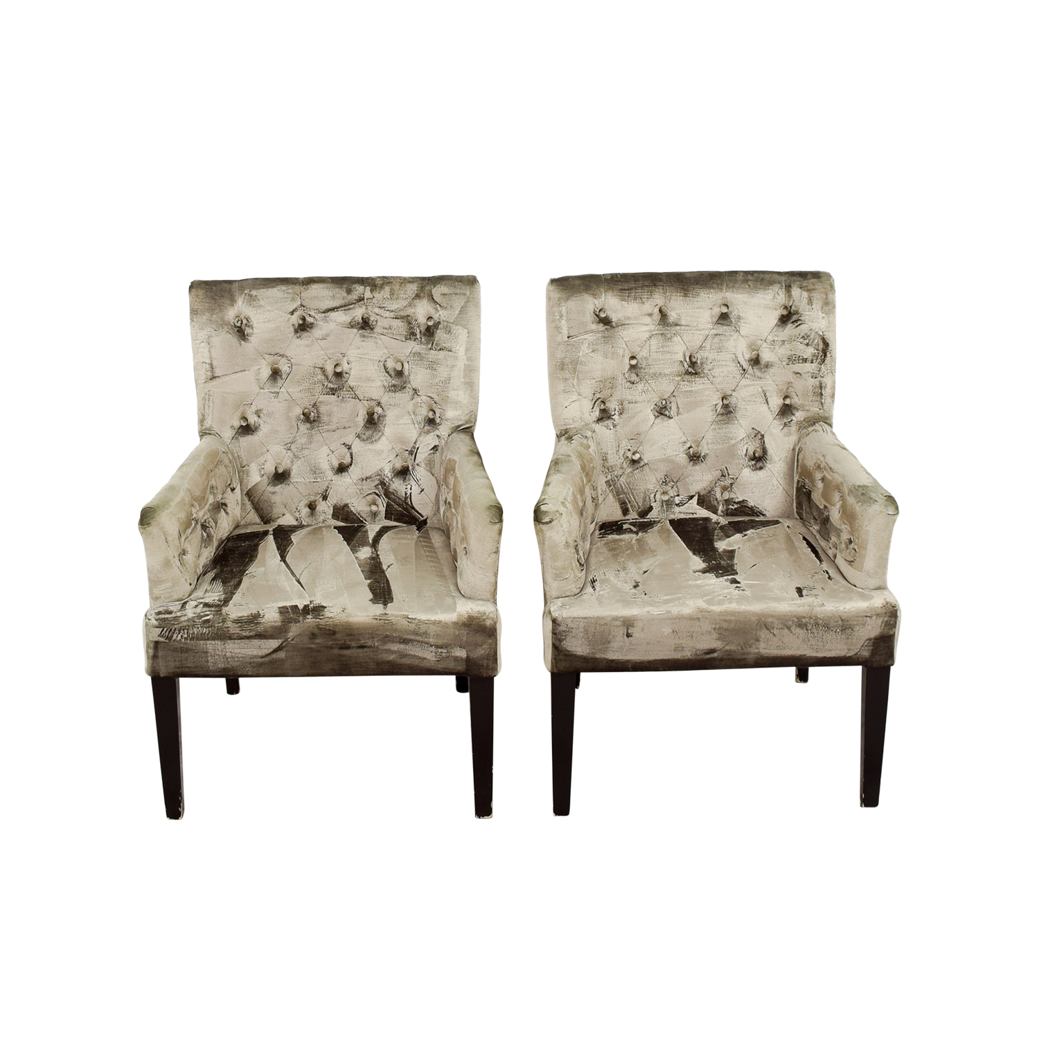Z Gallerie Z Gallerie Lola Bella Grey Tufted Arm Chairs Accent Chairs