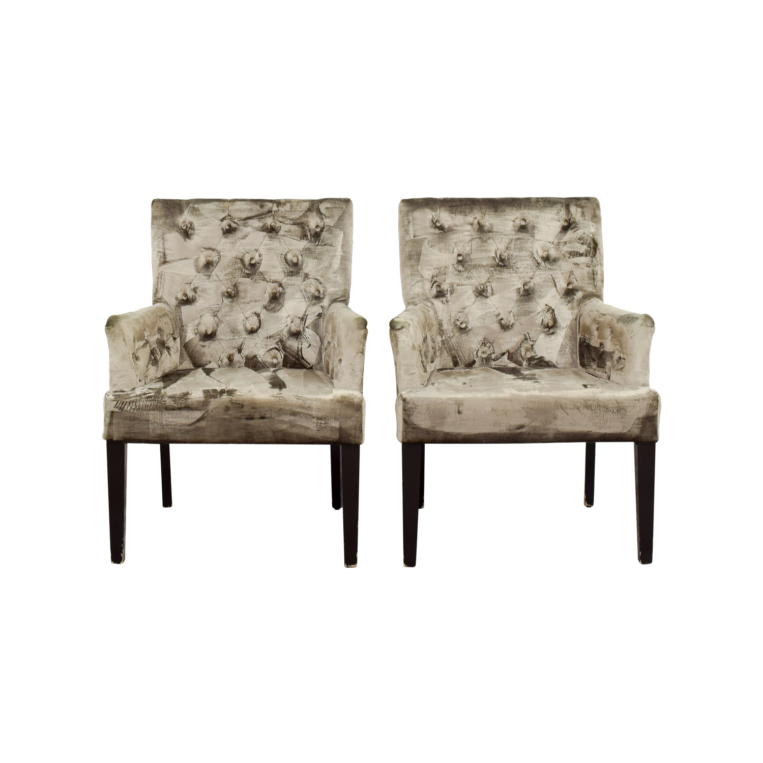 shop Z Gallerie Lola Bella Grey Tufted Arm Chairs Z Gallerie Sofas