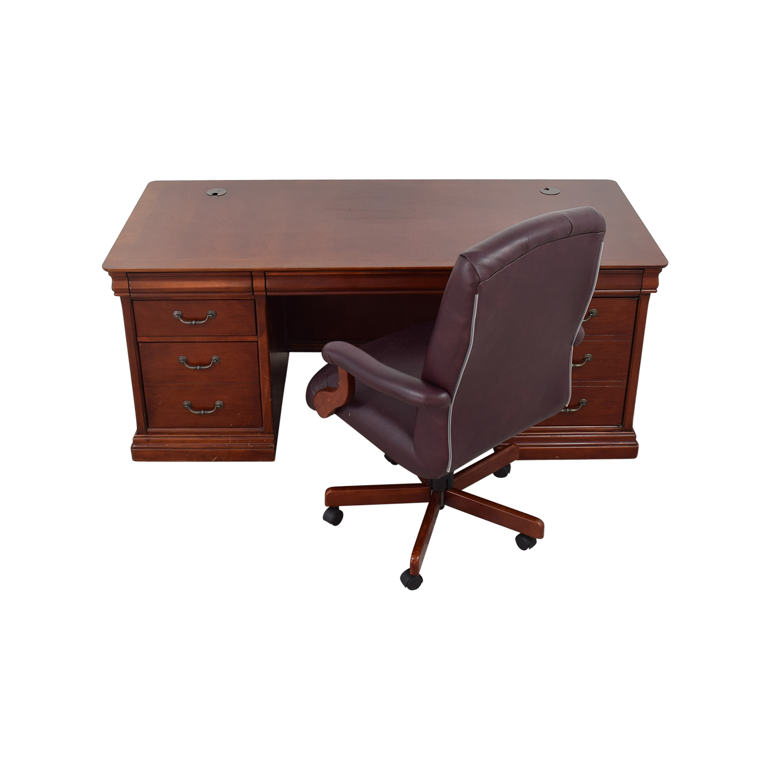 Astonishing 81 Off Havertys Havertys Executive Desk With Leather Chair Tables Interior Design Ideas Clesiryabchikinfo