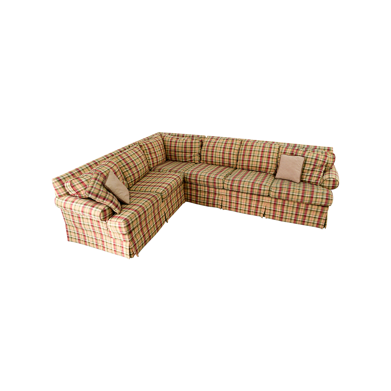 90% OFF - Ethan Allen Ethan Allen Retreat Roll Arm Plaid Four Piece  Sectional / Sofas