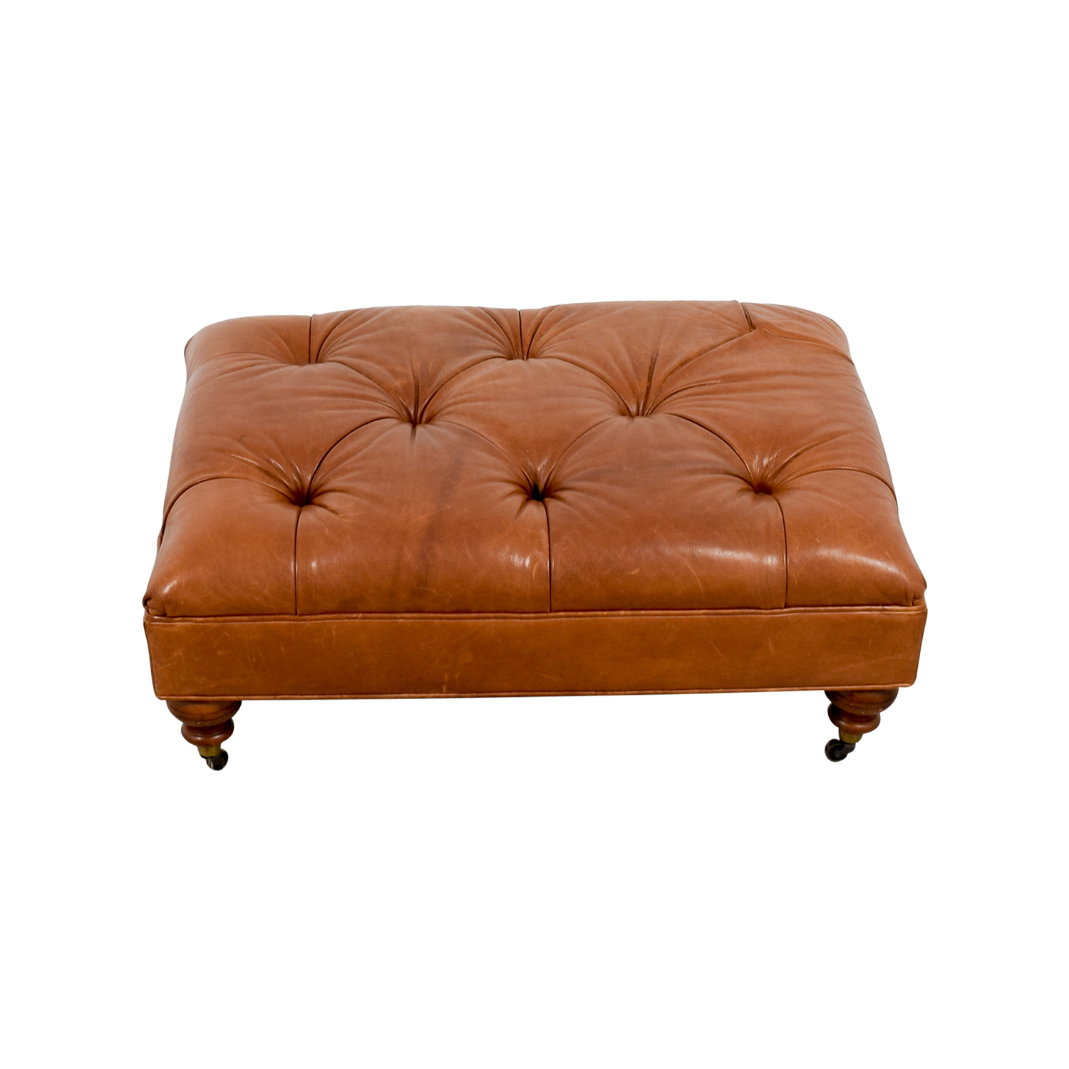 Ethan Allen Ethan Allen Anton Tufted Leather Ottoman for sale