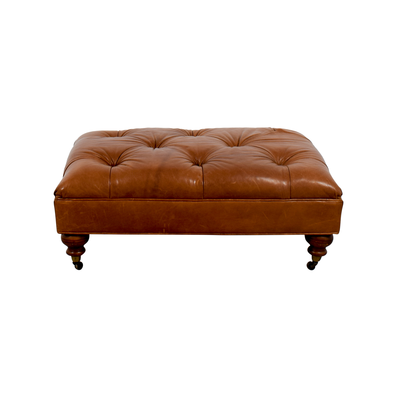 Ethan Allen Anton Tufted Leather Ottoman / Chairs