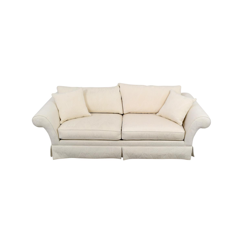 Ethan Allen Rolled Arm White Sofa sale