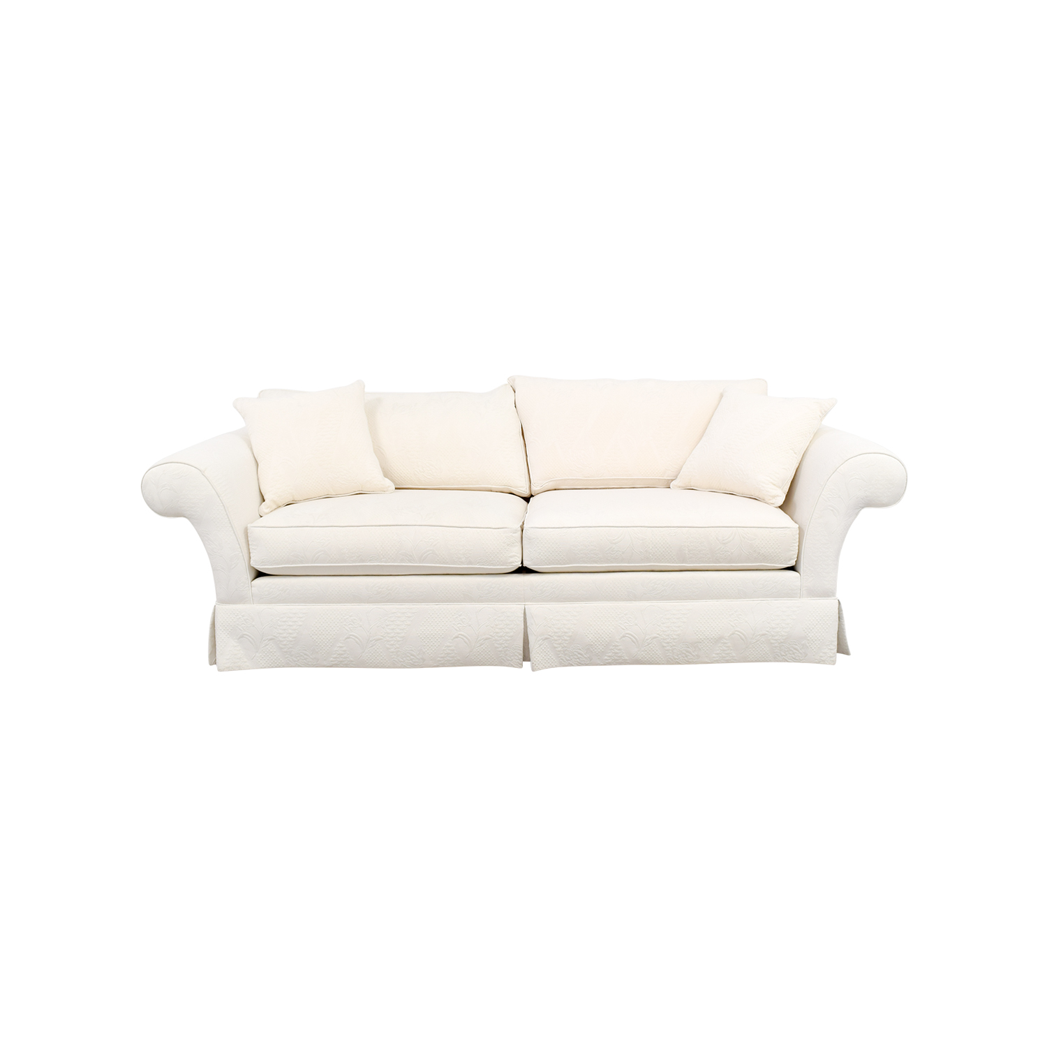 Ethan Allen Ethan Allen Rolled Arm White Sofa nj