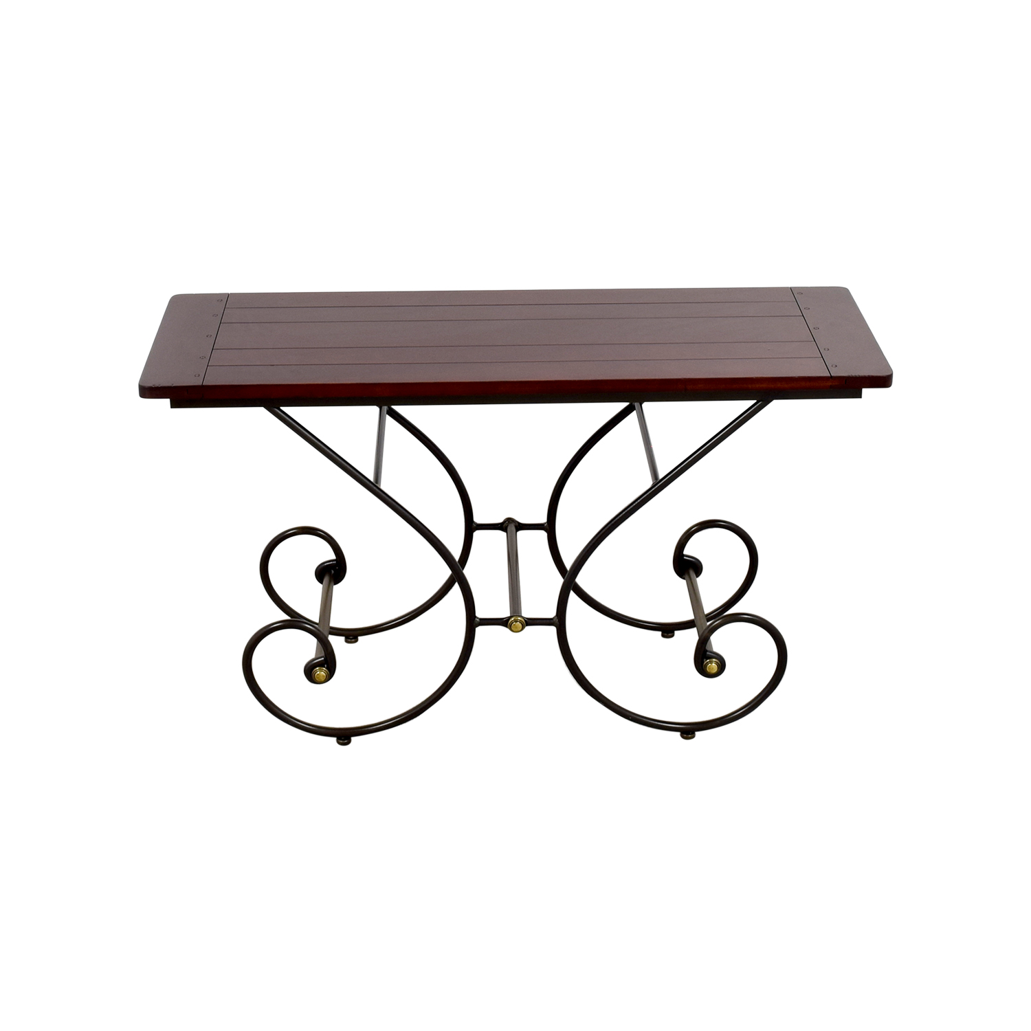 buy Scroll Metal and Wood Sofa Table