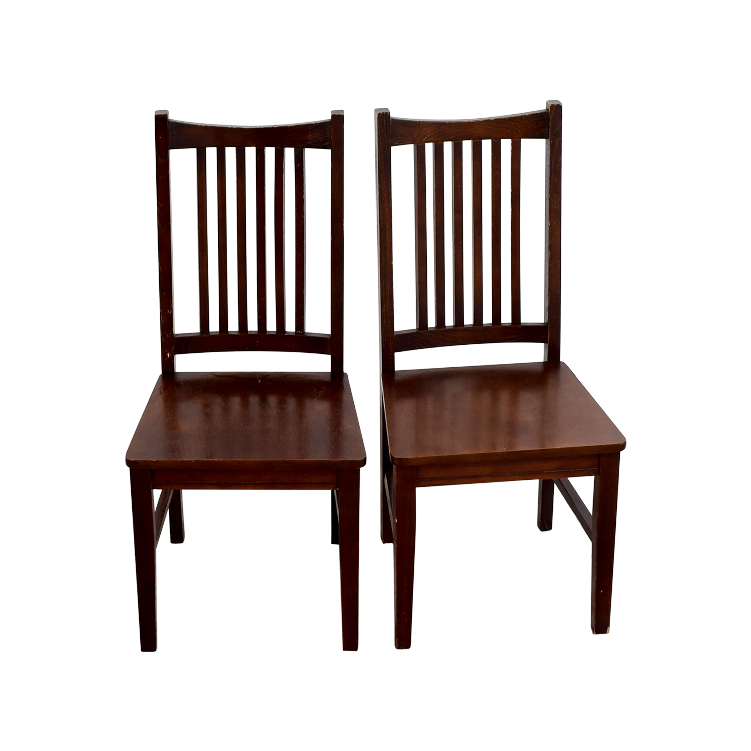 Second hand solid wood chairs dark