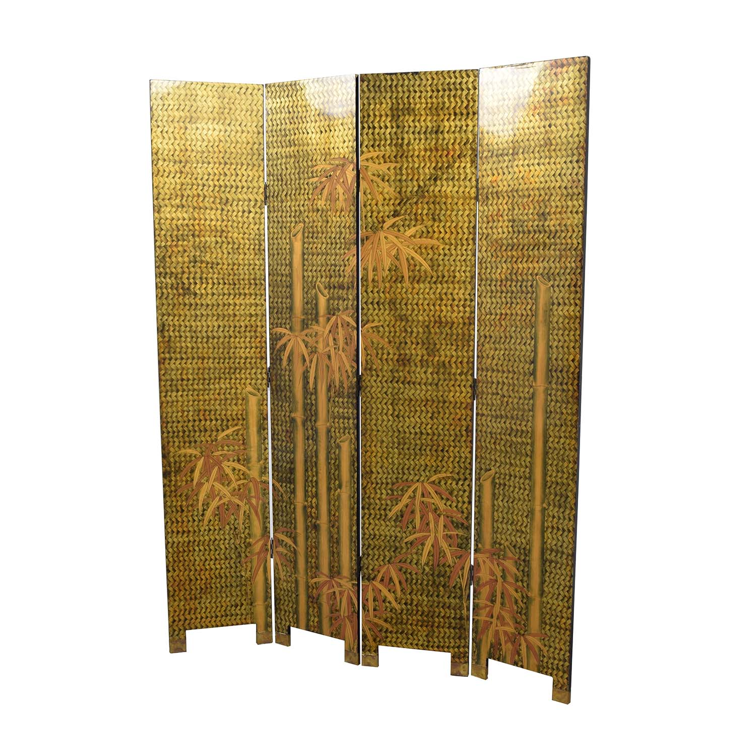 Vintage Lacquered Four Panel Chinese Screen Dividers