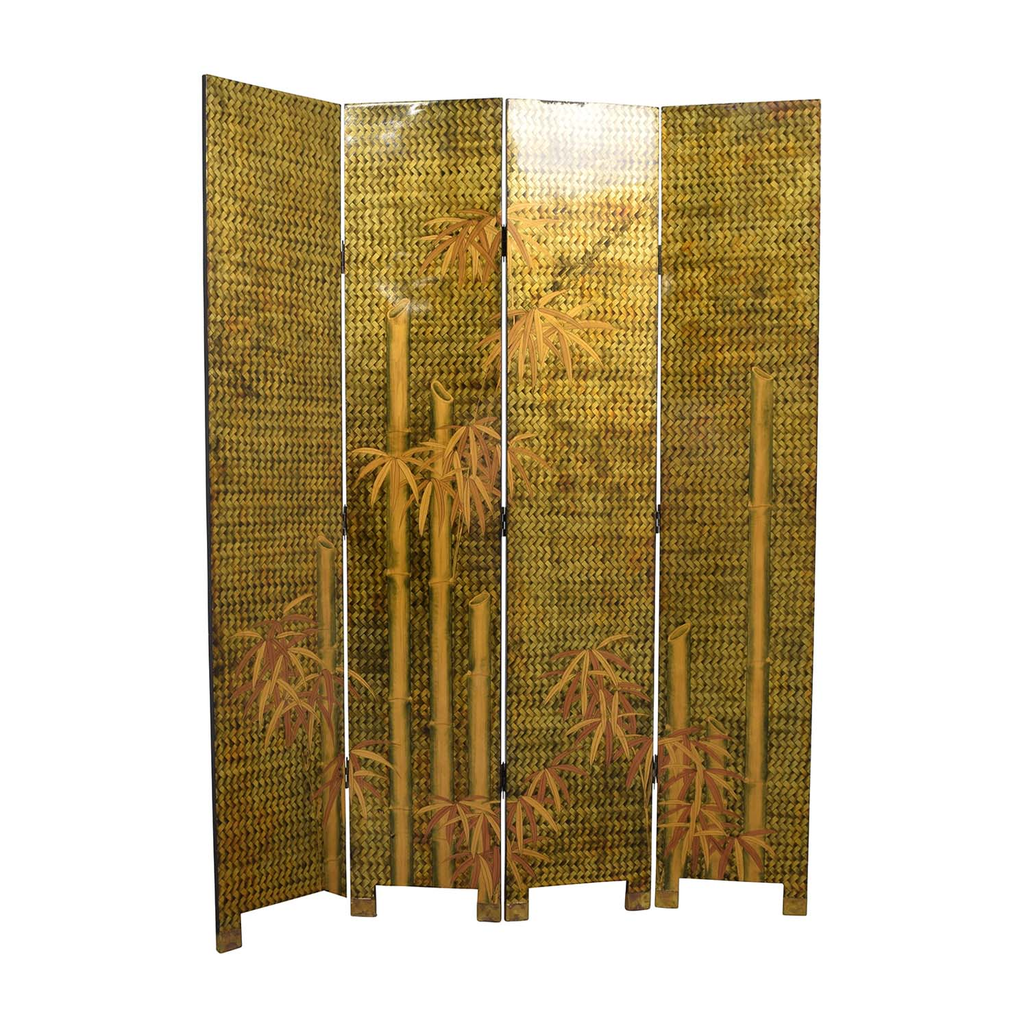 Vintage Lacquered Four Panel Chinese Screen / Dividers