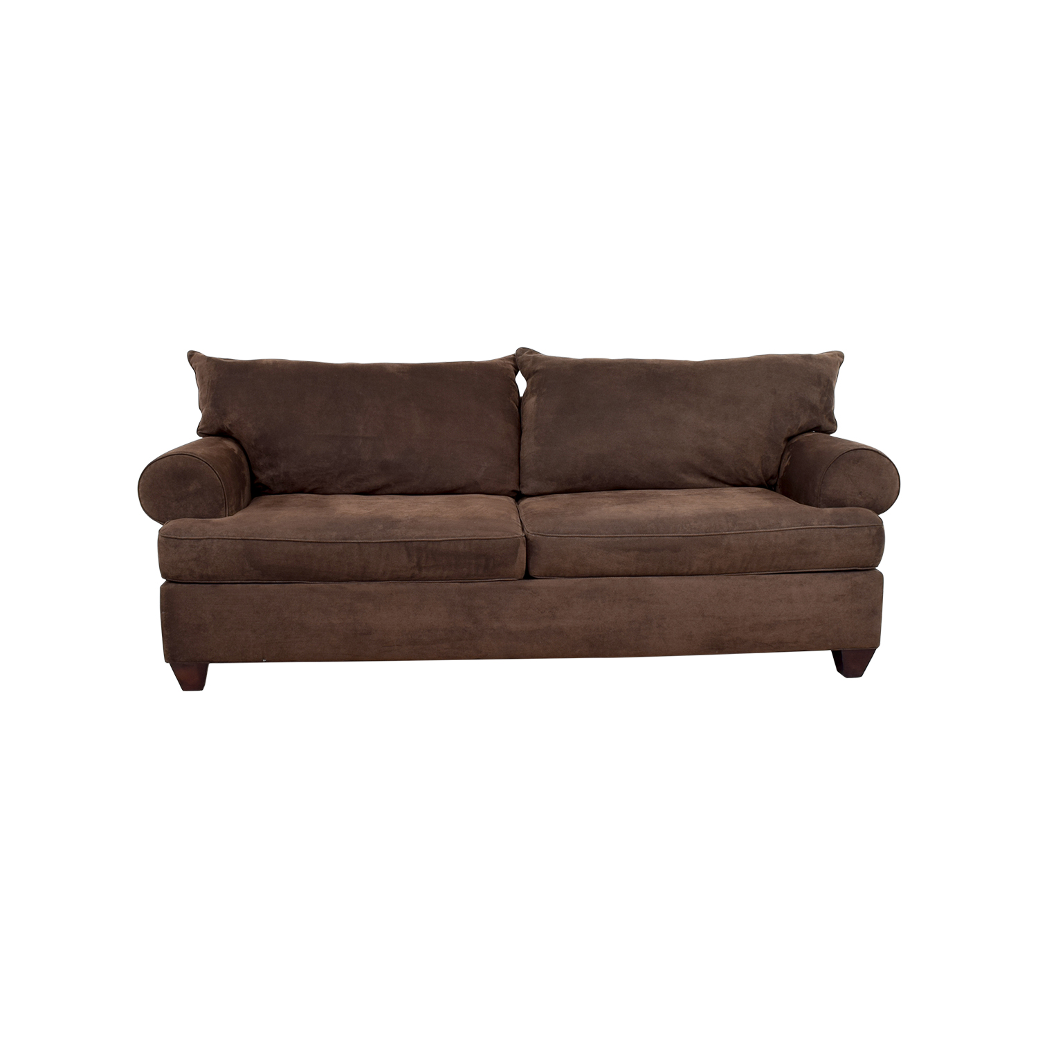 47% OFF - Brown Corduroy Two-Cushion Couch / Sofas
