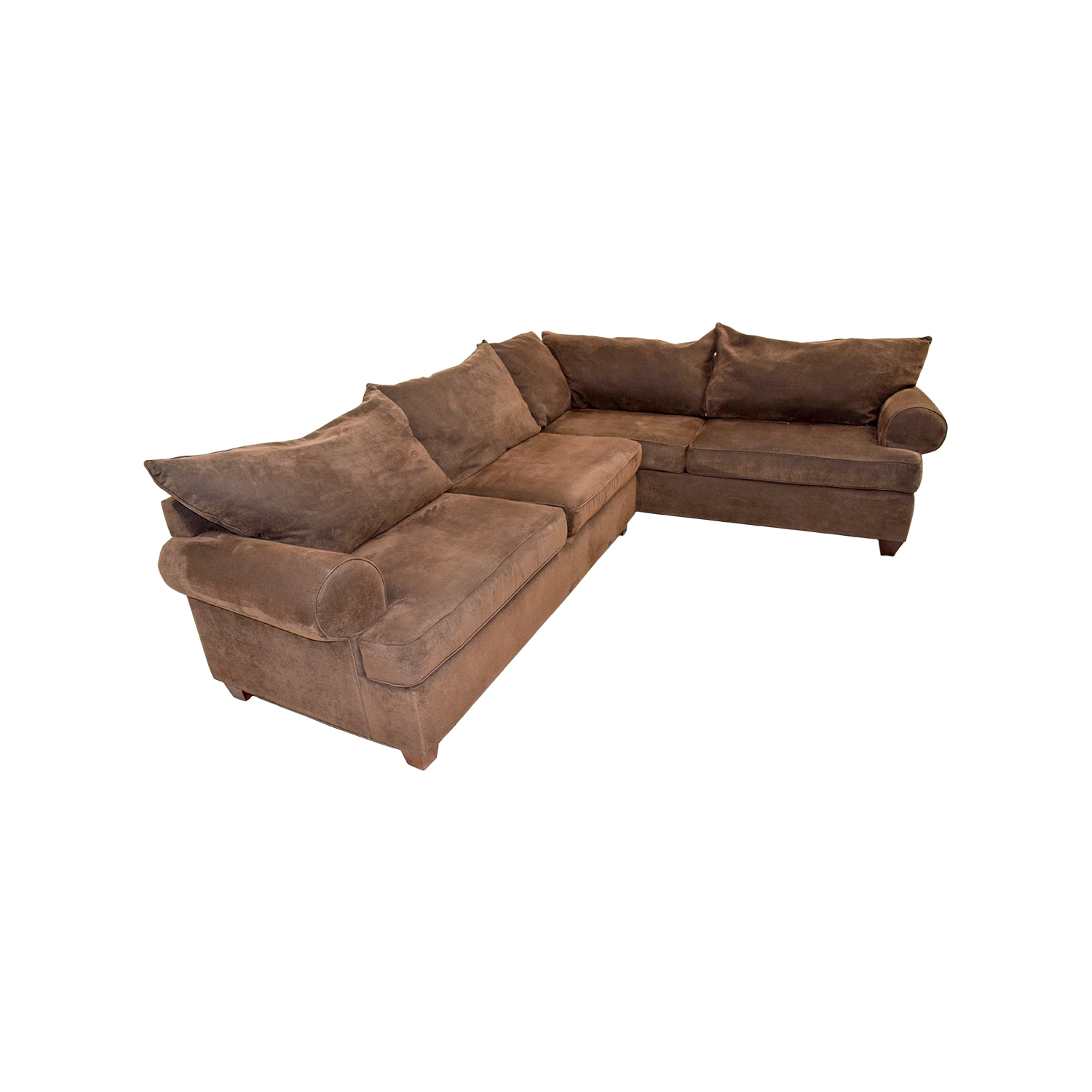 second hand brown corduroy l shaped sectional couch