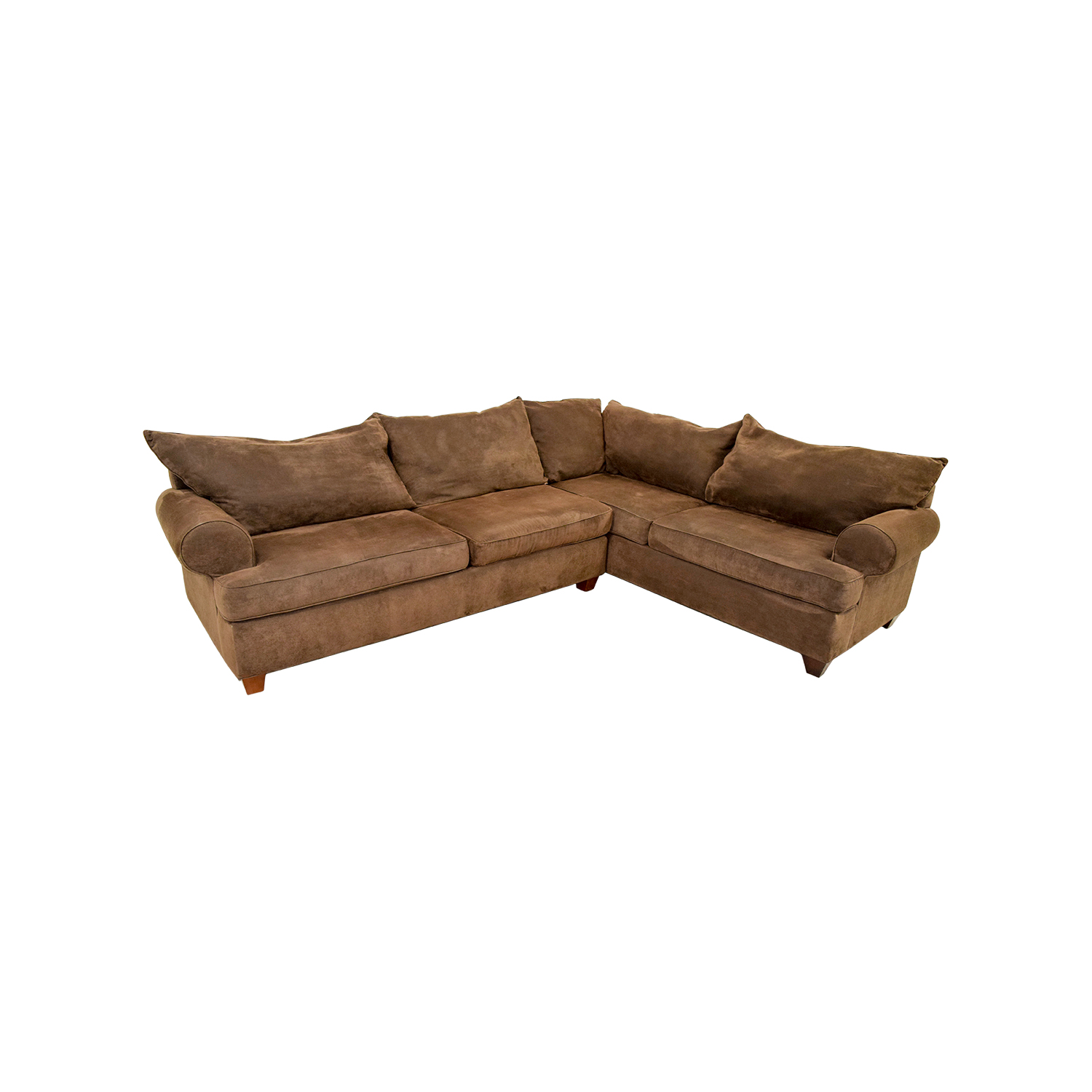 Brown Corduroy L-Shaped Sectional Couch nj