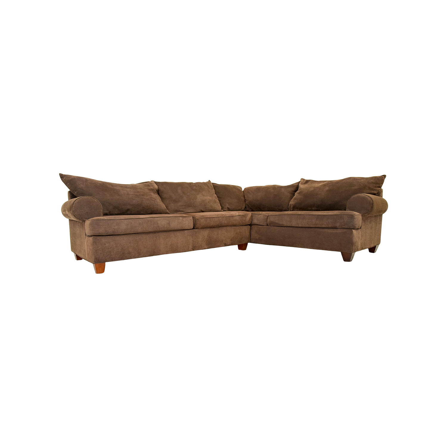 75% OFF - Brown Corduroy L-Shaped Sectional Couch / Sofas