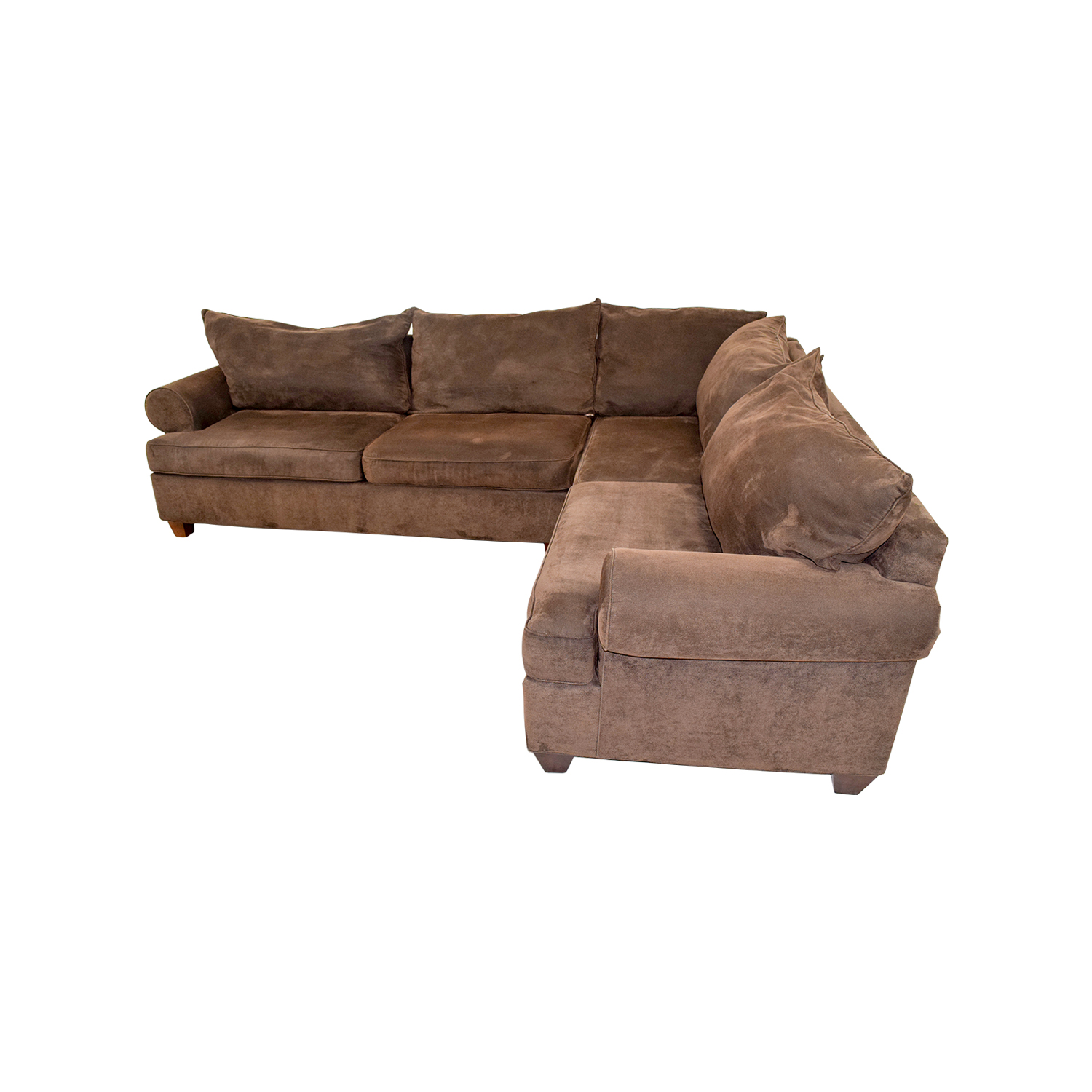 75 off brown corduroy l shaped sectional couch sofas for Brown corduroy couch