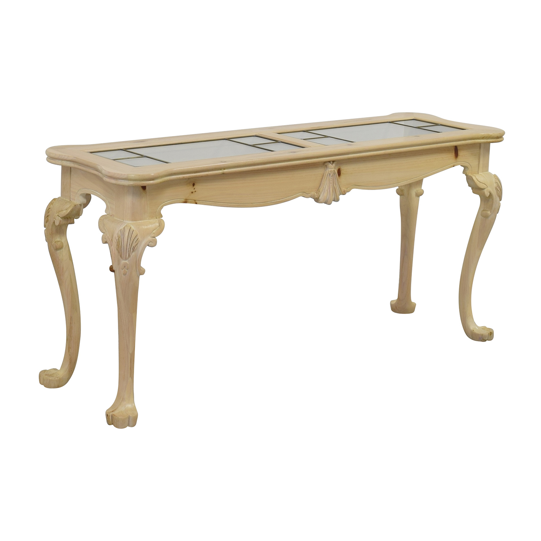 90 off lexington lexington natural wood and glass sofa table tables. Black Bedroom Furniture Sets. Home Design Ideas