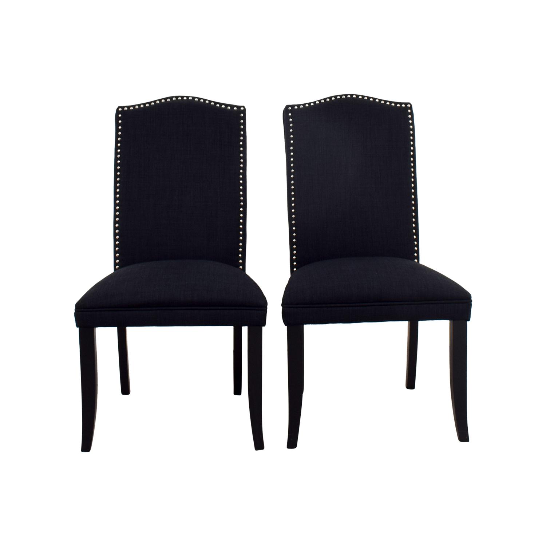 Cortesi Home Cortesi Home Linen Upholstered Nailhead Chairs Dark Blue