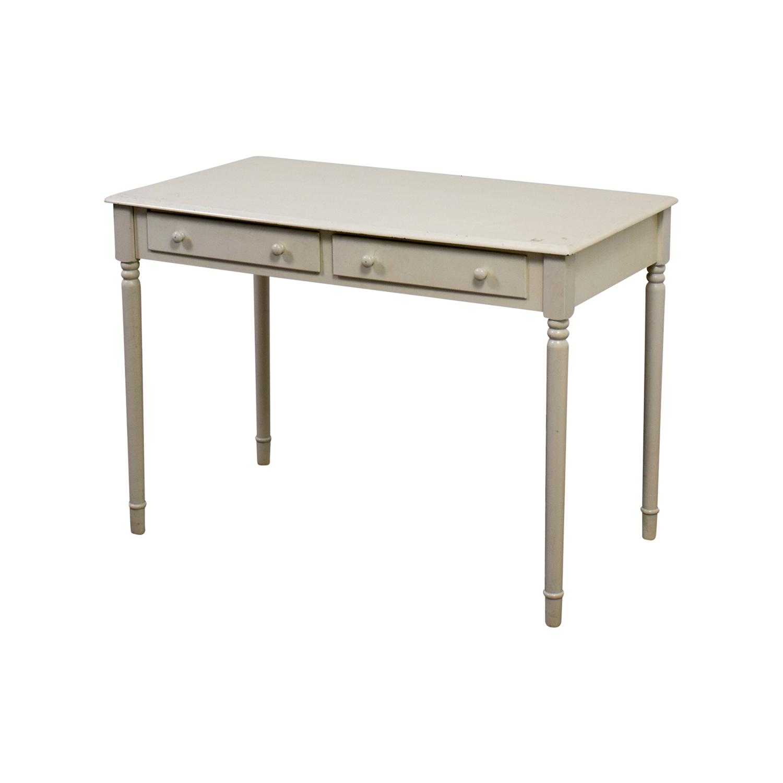 buy White Wooden Two-Drawer Desk Home Office Desks