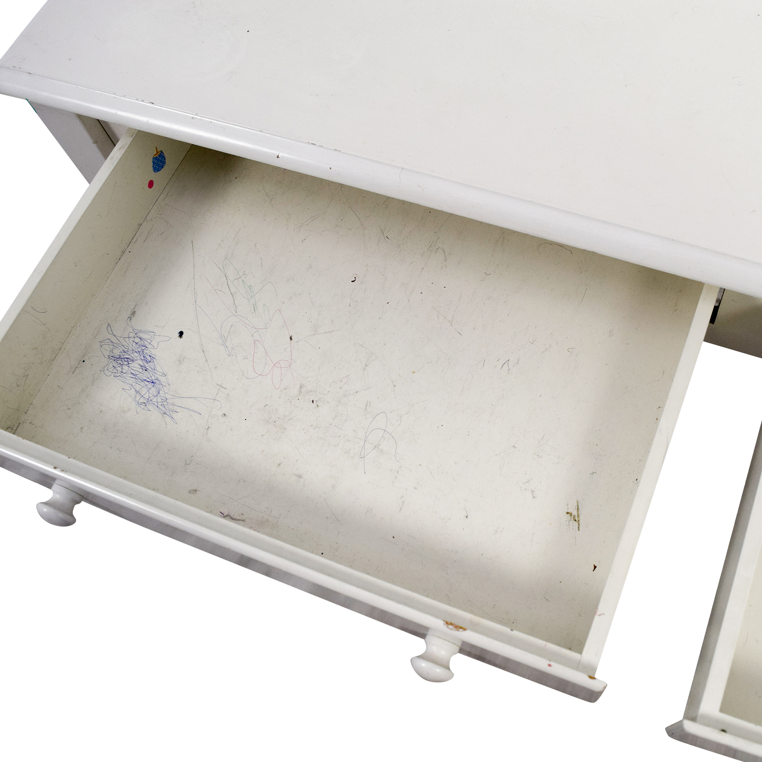 White Wooden Two-Drawer Desk Tables