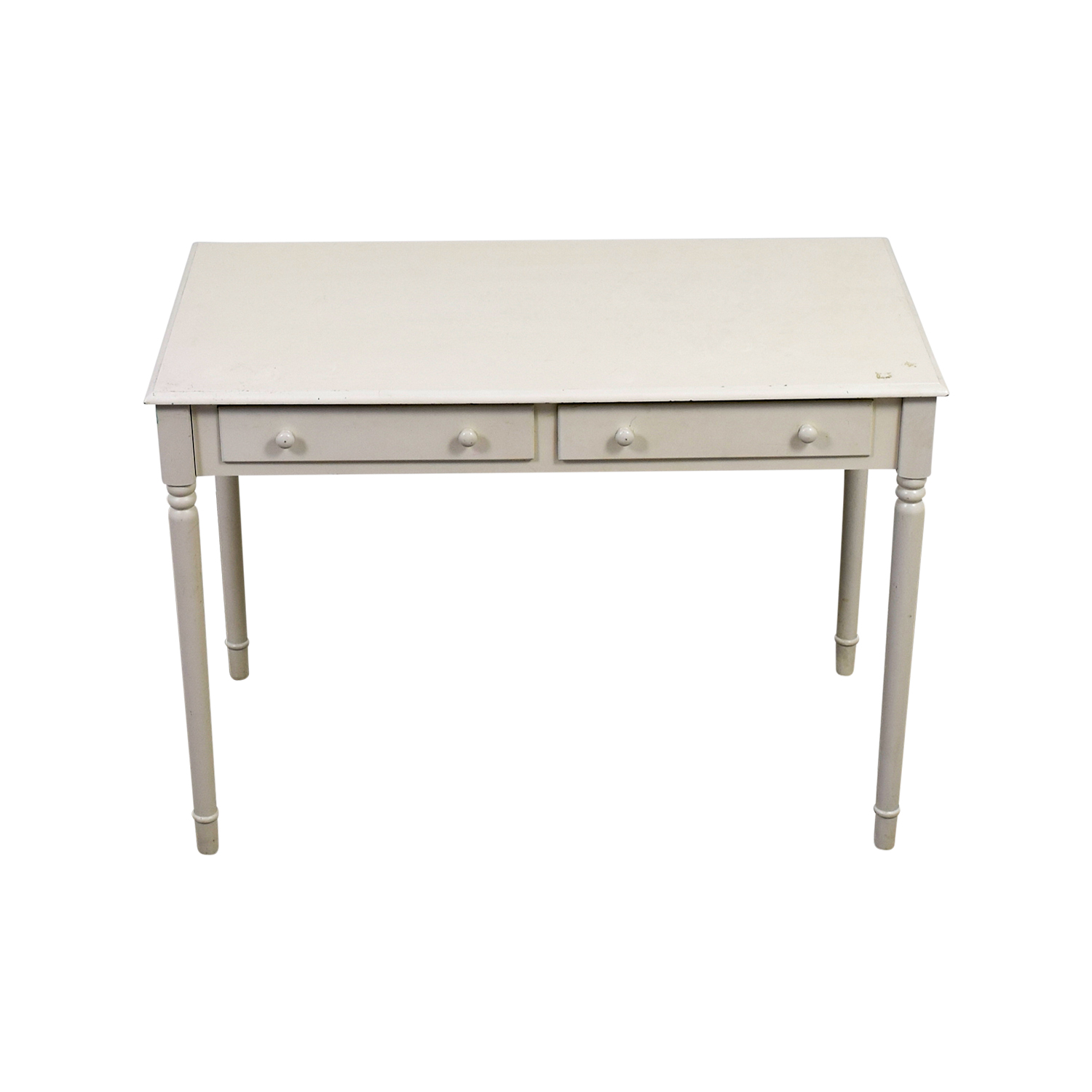 White Wooden Two-Drawer Desk nj