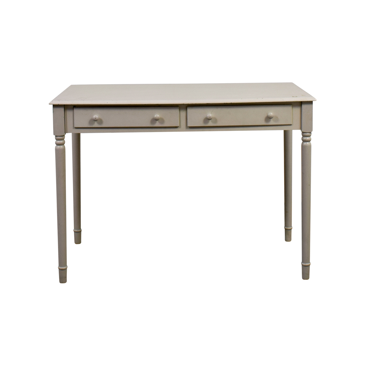 buy White Wooden Two-Drawer Desk Tables