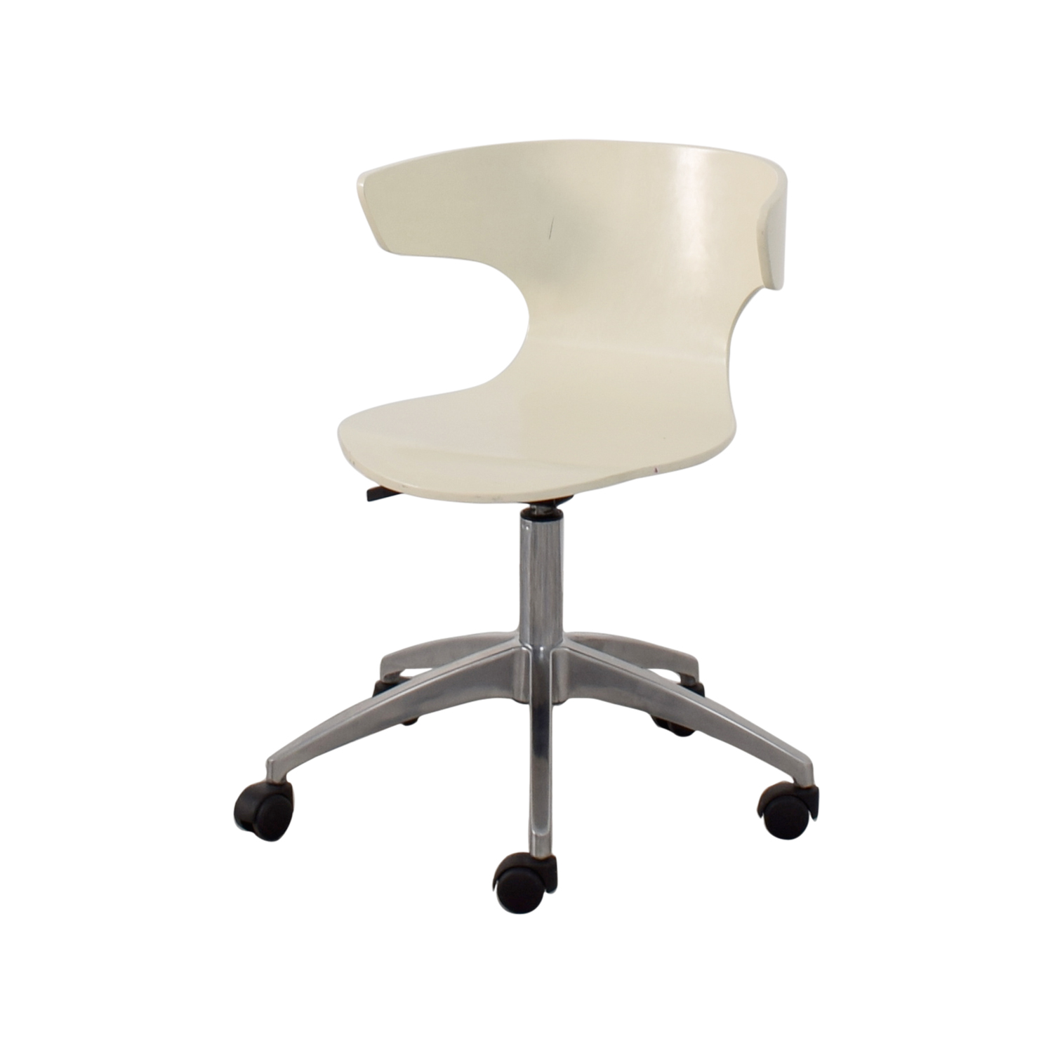 63% OFF West Elm West Elm White Modern Chair with Casters Chairs
