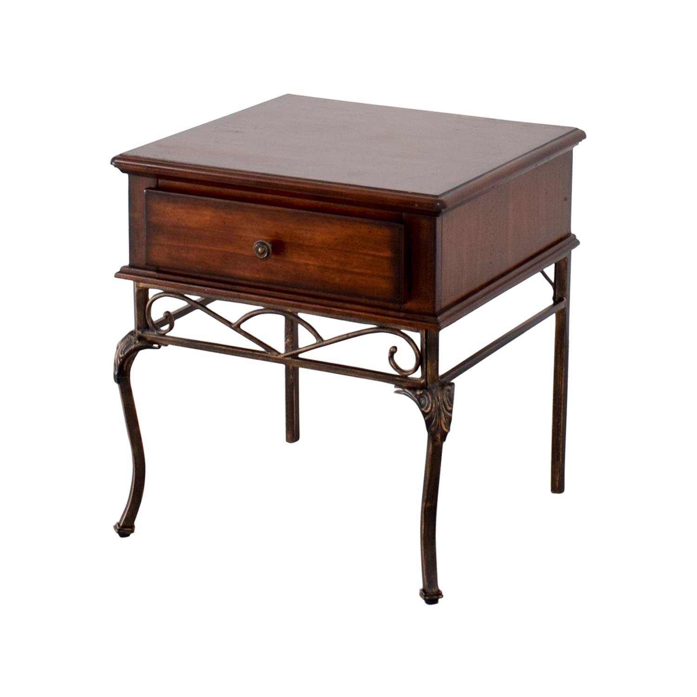 90 off wood and metal single drawer end table tables. Black Bedroom Furniture Sets. Home Design Ideas