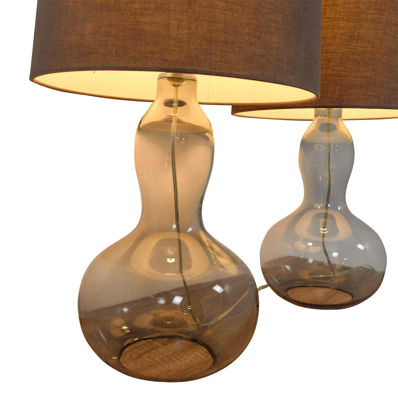 82 off west elm west elm gourd glass lamps decor. Black Bedroom Furniture Sets. Home Design Ideas
