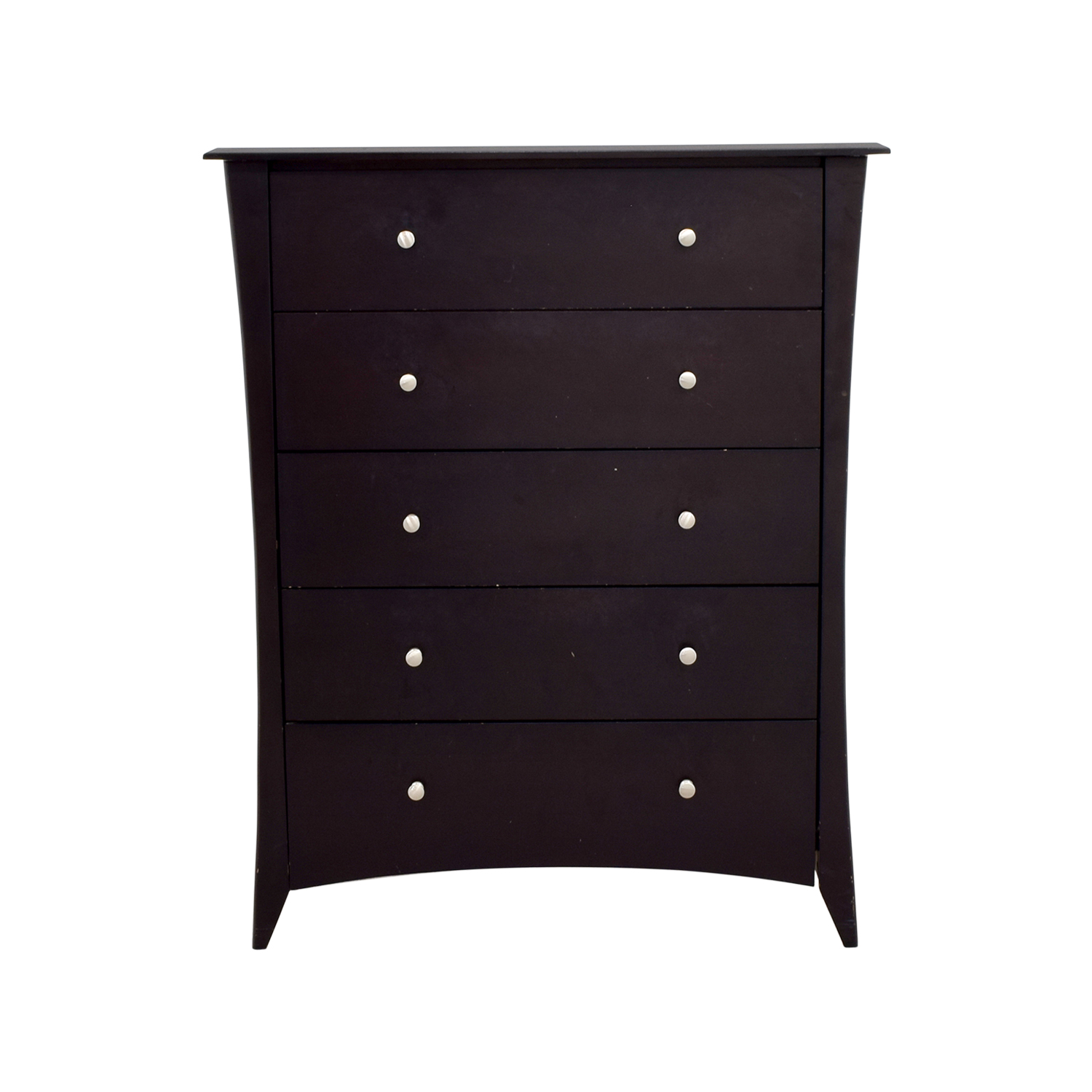 Dark Wood Five-Drawer Dresser / Dressers