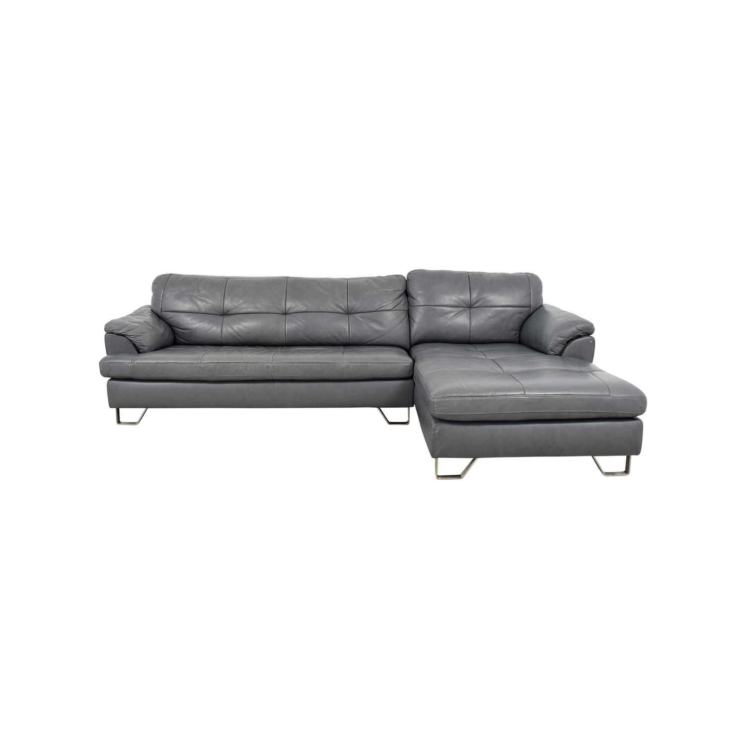 Ashley Furniture Ashley Furniture Gray Tufted Sectional Sofa discount
