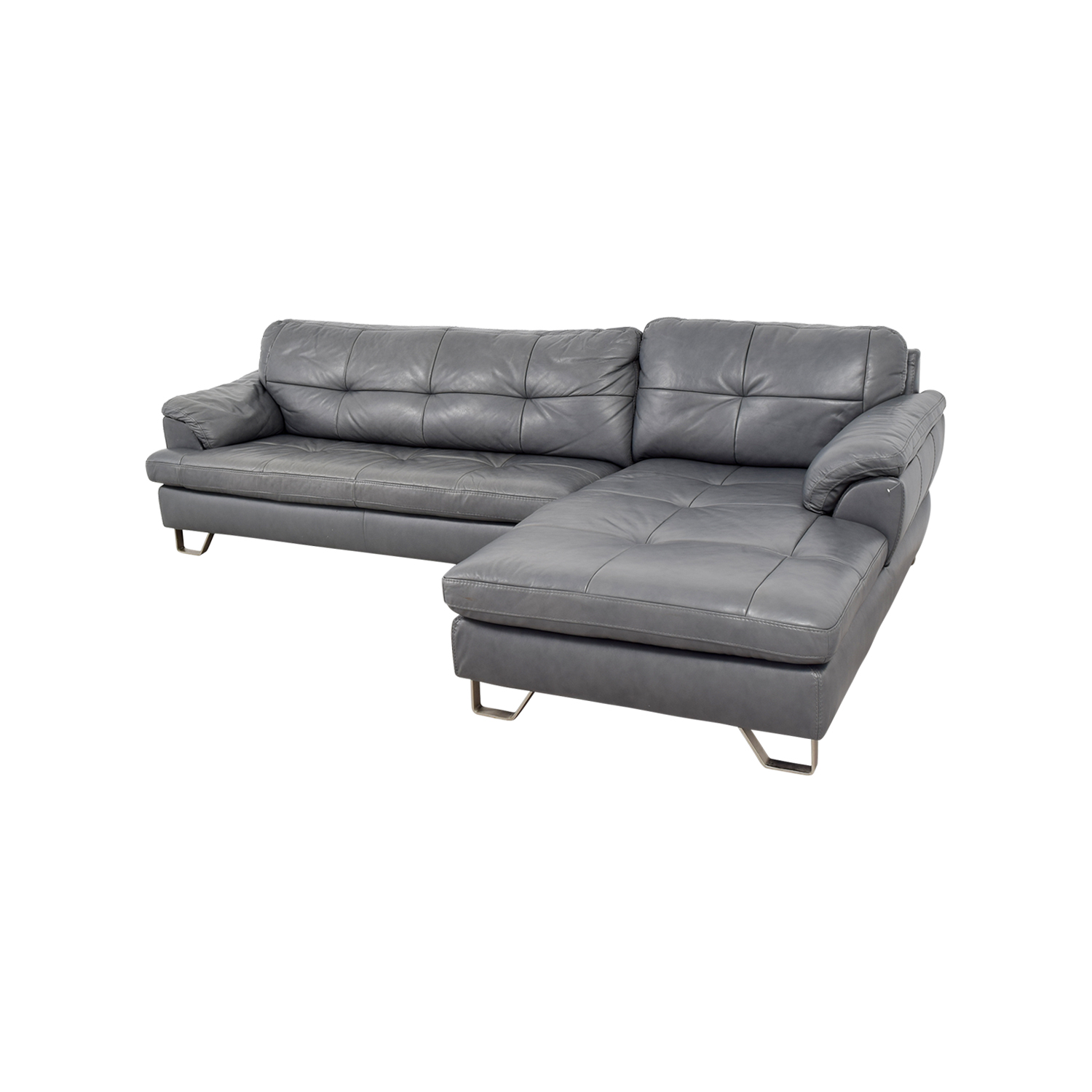 83% OFF - Ashley Furniture Ashley Furniture Gray Tufted Sectional Sofa /  Sofas