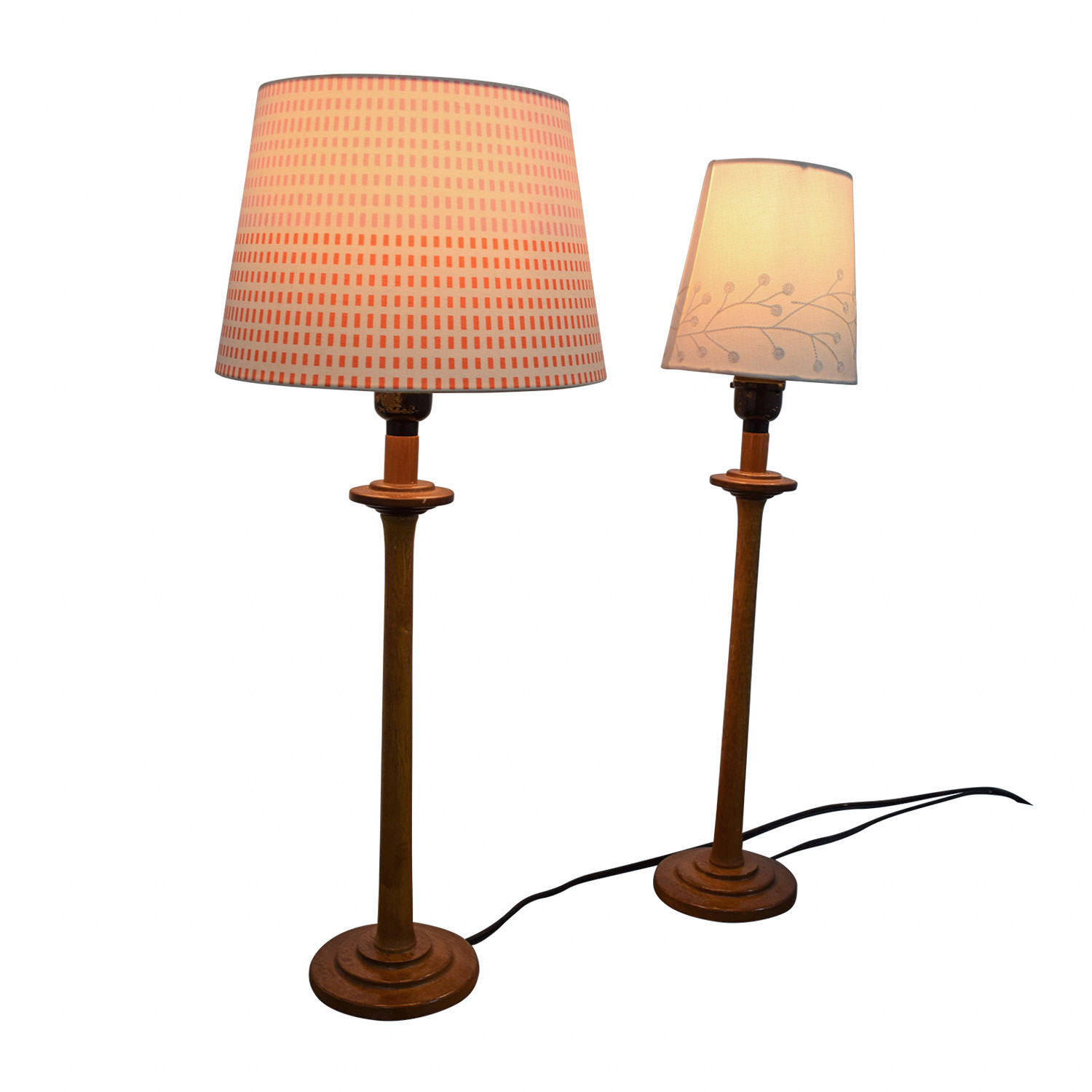 54% OFF - Wood Table Lamps with Mismatched Shades / Decor