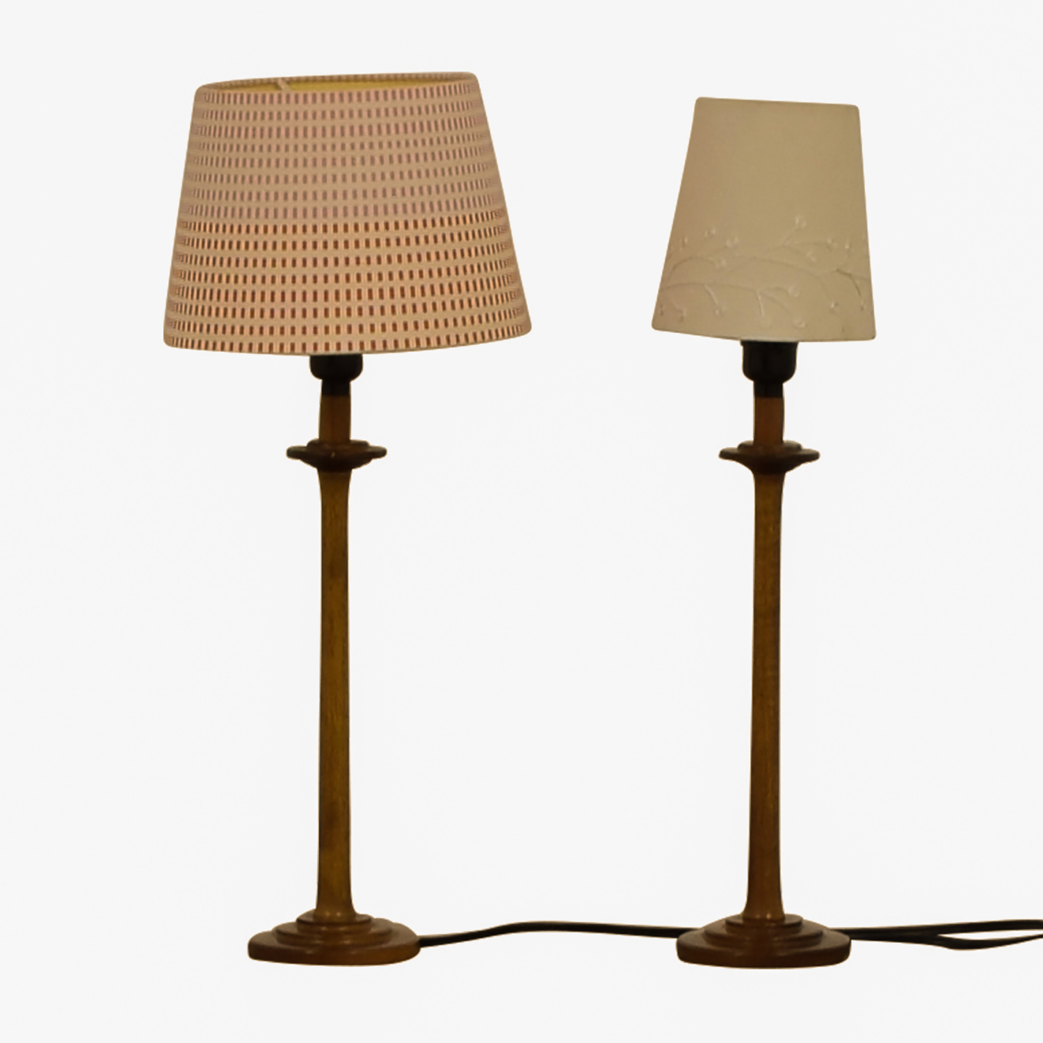 86 Off Wood Table Lamps With Mismatched Shades Decor