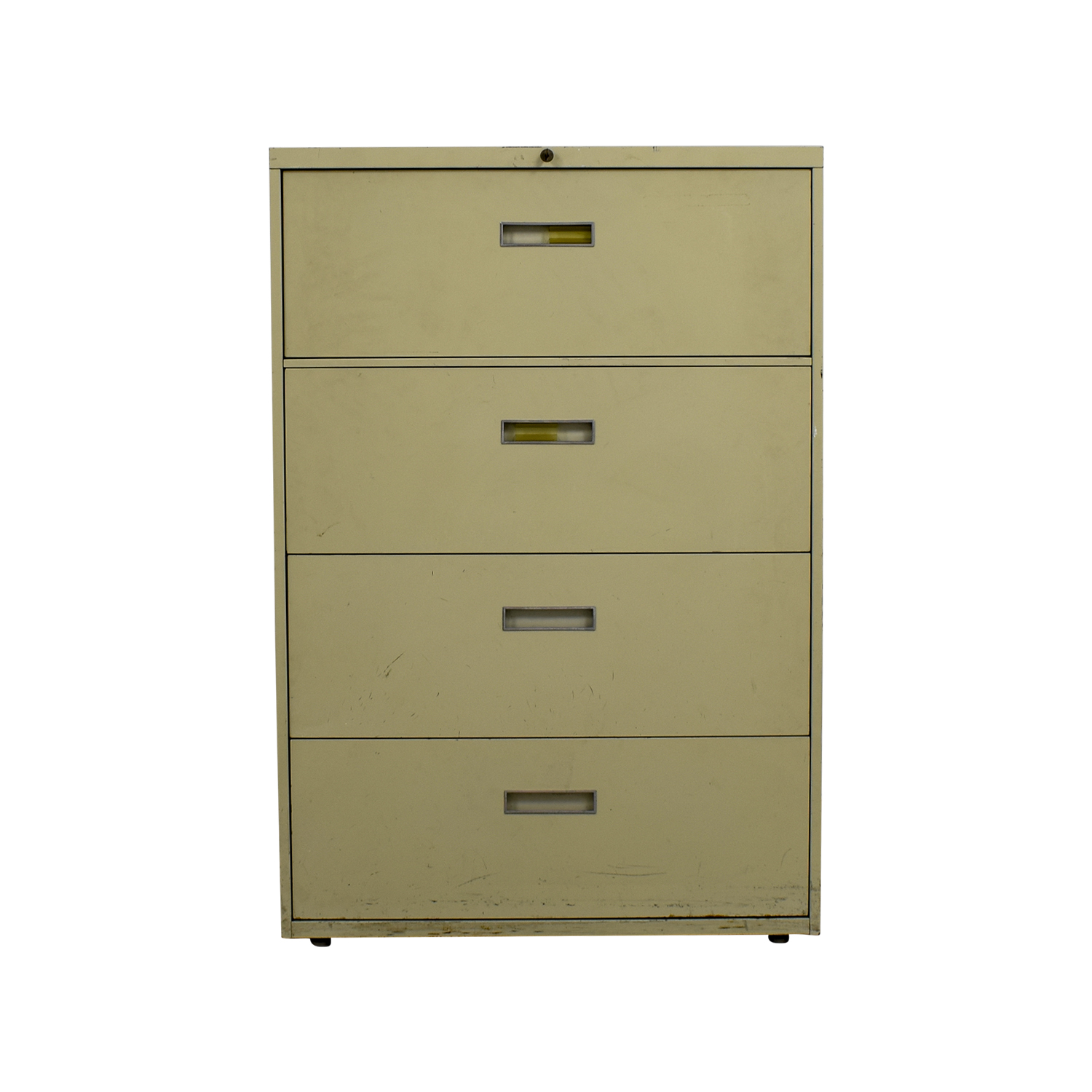 Four Drawer Tan Lateral File Cabinet tan