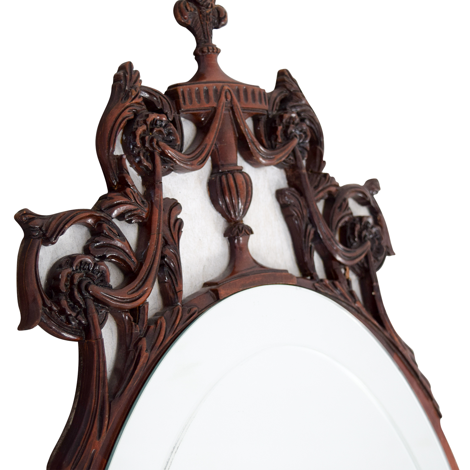 Antique 1940's Flame Mahogany Wood Oval Mirror
