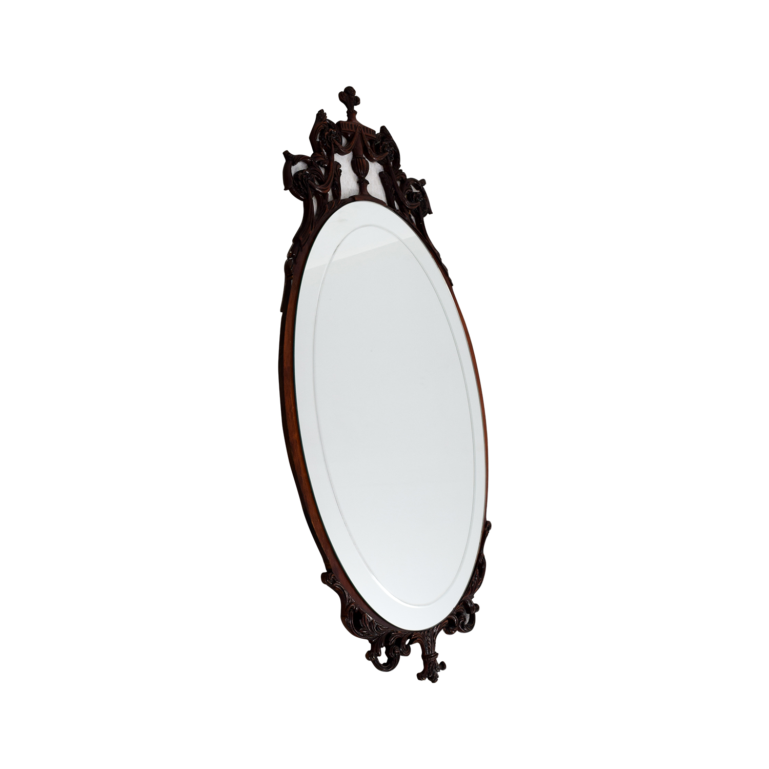 Antique 1940s Flame Mahogany Wood Oval Mirror