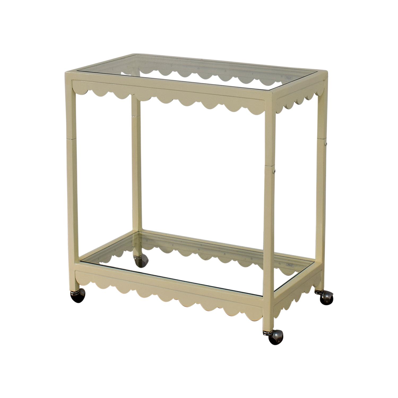 90 off society social society social cream scallop bar cart tables. Black Bedroom Furniture Sets. Home Design Ideas
